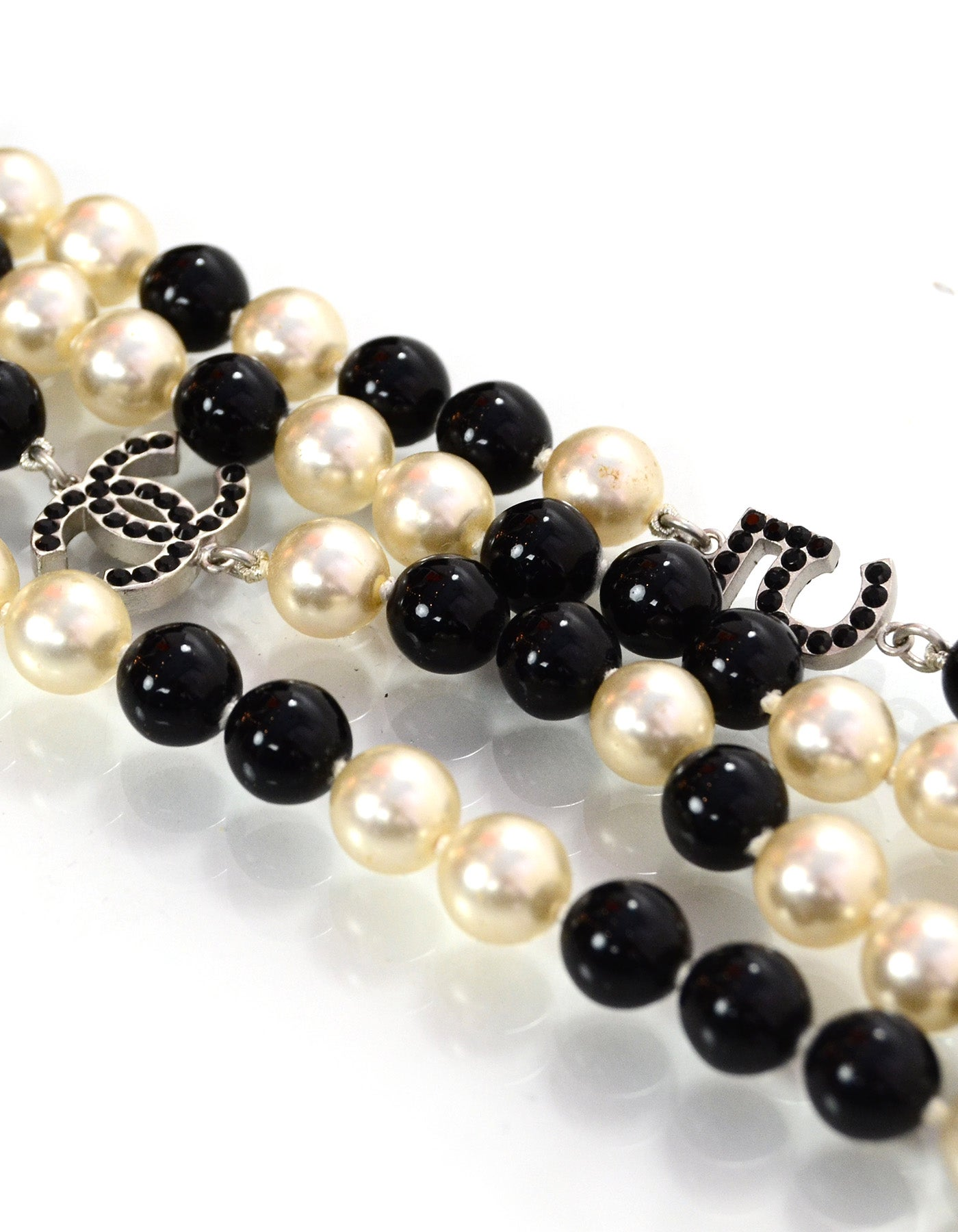 5e3ad0a07b562 Chanel Pearl & Beaded Long Black Crystal CC/Clover/ No 5 Charm Necklace