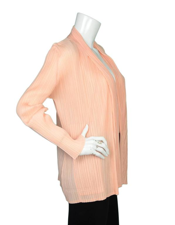 Pleats Please Peach Micro-Pleated Open Jacket sz 5 2