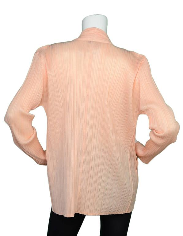 Pleats Please Peach Micro-Pleated Open Jacket sz 5 3
