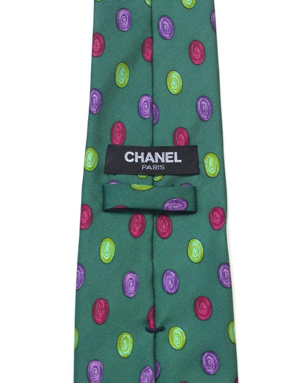 Chanel Green & Multi-Color Dot Print Silk Tie 4