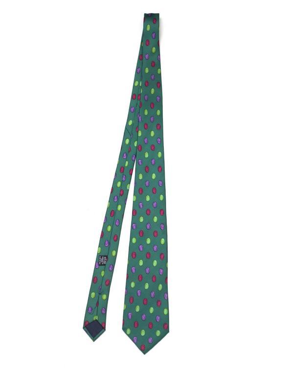 Chanel Green & Multi-Color Dot Print Silk Tie 2