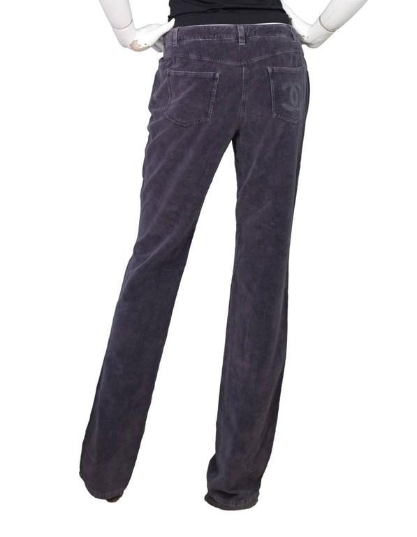 Chanel Grey Corduroy CC Pocket Boot Cut Jeans sz FR42 4