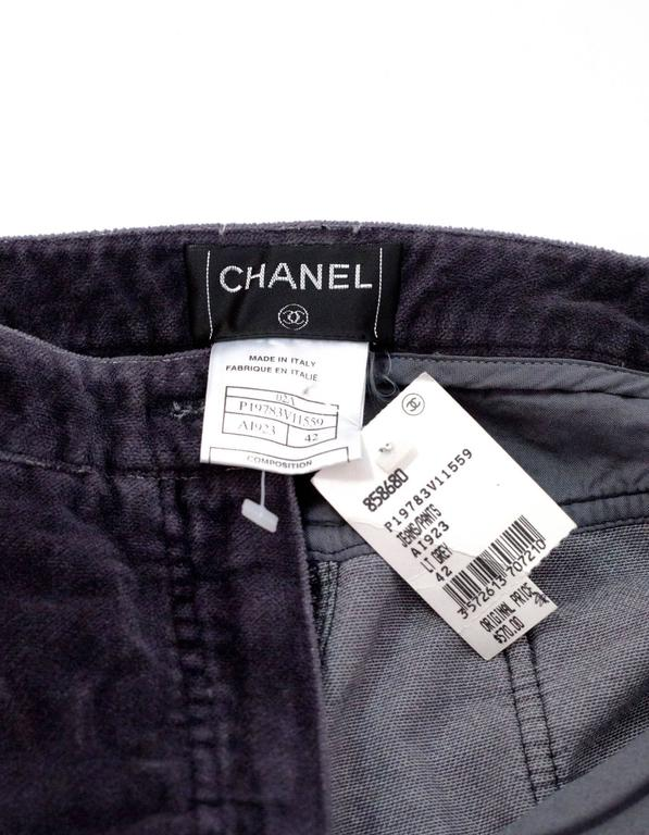 Chanel Grey Corduroy CC Pocket Boot Cut Jeans sz FR42 6