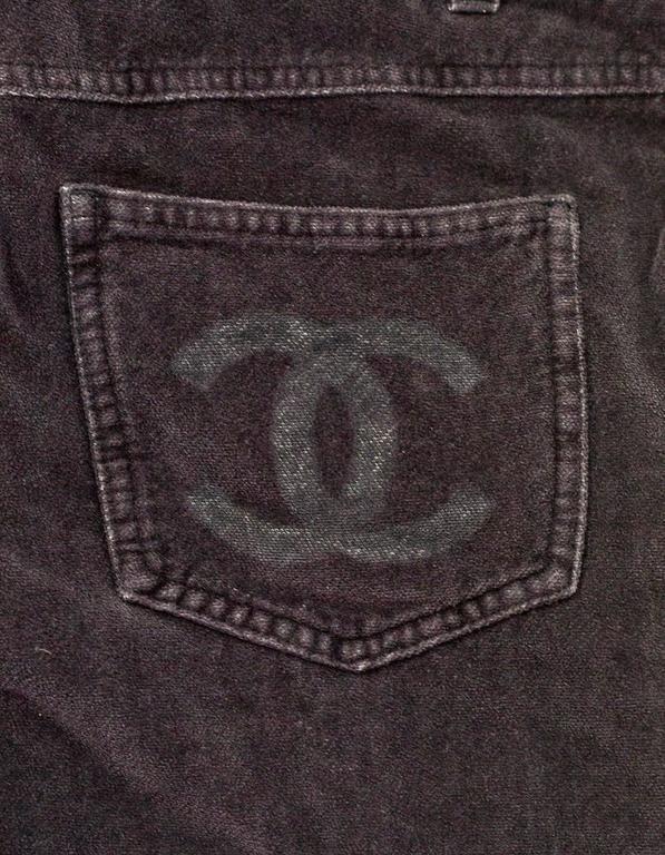 Chanel Grey Corduroy CC Pocket Boot Cut Jeans sz FR42 5