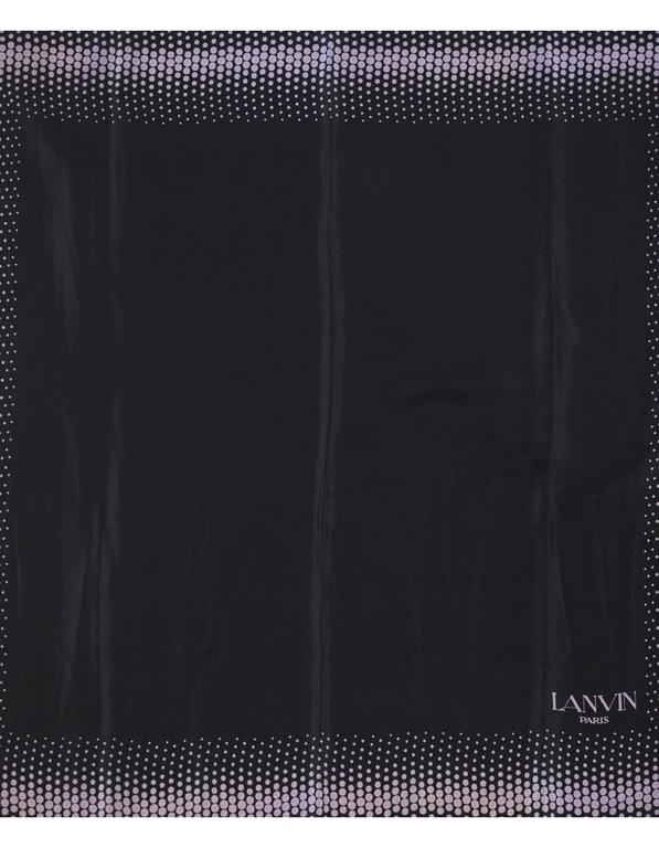 Lanvin Black & Purple Polka Dot Silk Scarf  Features Lanvin Paris printed on bottom corner  Color: Black and purple Composition: Not given- believed to be 100% silk Overall Condition: Excellent pre-owned condition with the exception of missing