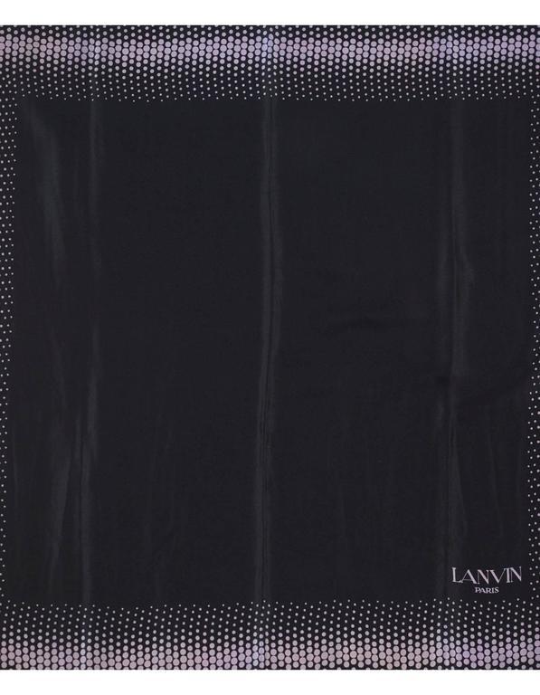 "Lanvin Black & Purple Polka Dot Silk 32"" Scarf 2"