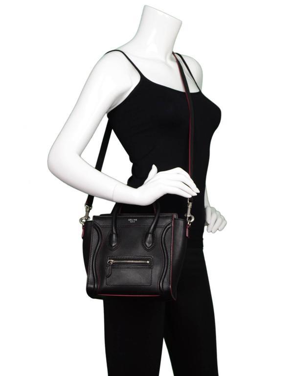 732a5a6265 Celine Black Leather Nano Luggage Tote Crossbody Bag w  Red Trim For Sale 6