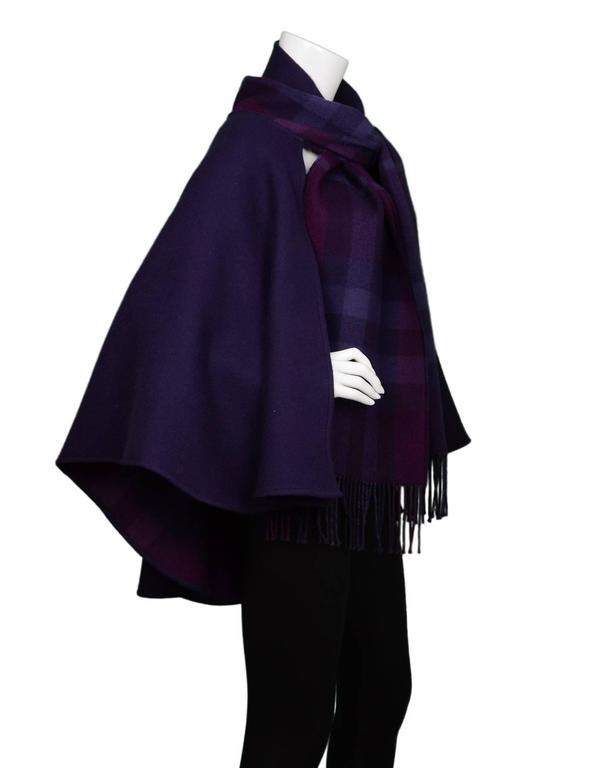 Burberry Purple & Nova Print Wool Cape Poncho 2