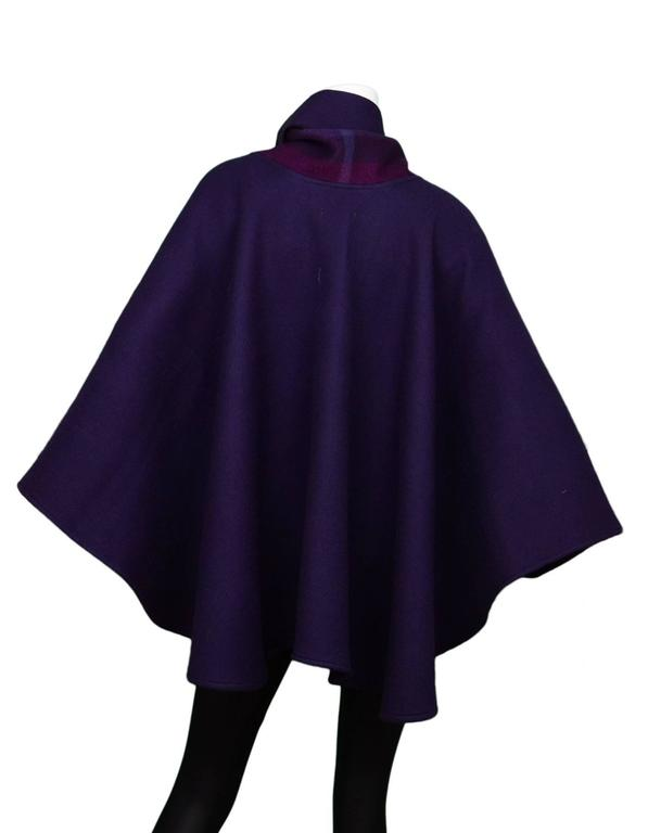Burberry Purple & Nova Print Wool Cape Poncho 3