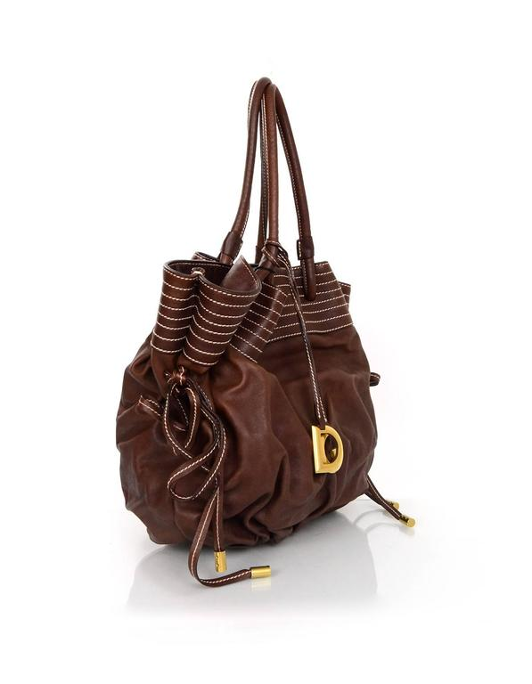 824e977fdc Dolce  amp  Gabbana NEW Brown Leather Drawstring Bag Features removable D   amp  G bag