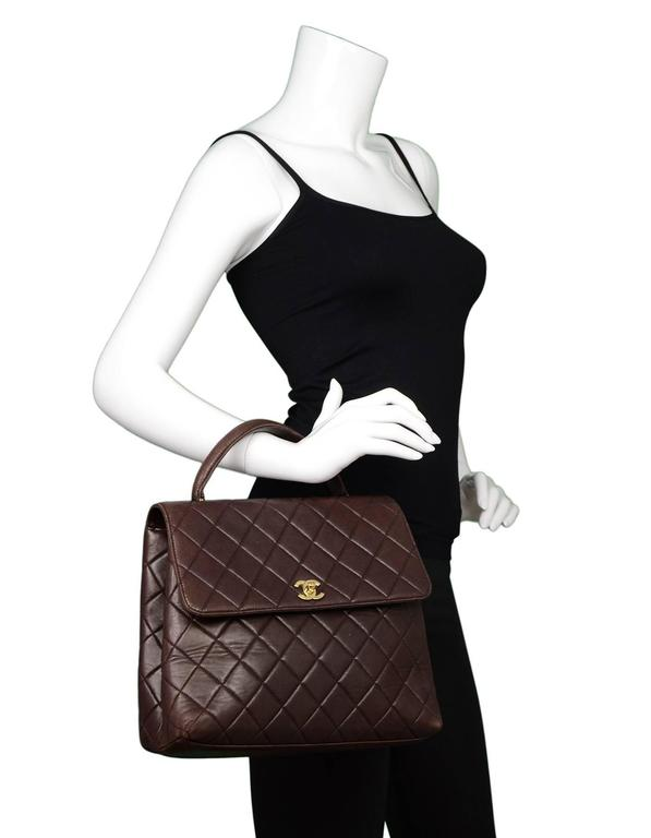 c1ba0bfc6f08e9 Chanel Vintage Brown Quilted Lambskin Leather Top Handle Kelly Style Bag  For Sale 6