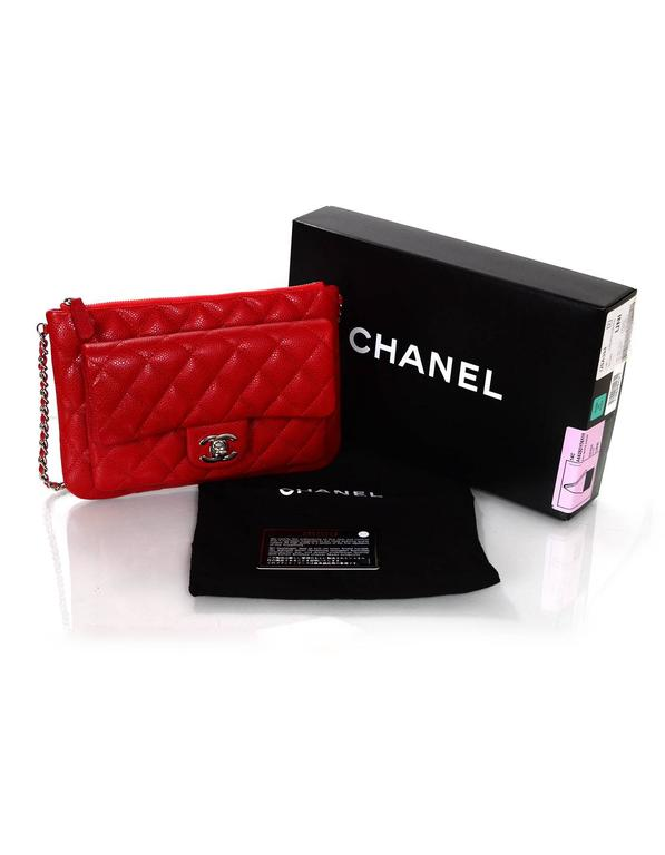 Chanel Red Quilted Caviar Leather Daily Zippy Crossbody Bag For Sale ... cc751764c5