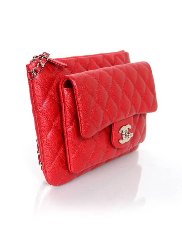 f578527bdc6b1a 100% Authentic Chanel Red Caviar Daily Zippy Crossbody Bag. Features front  pocket w.