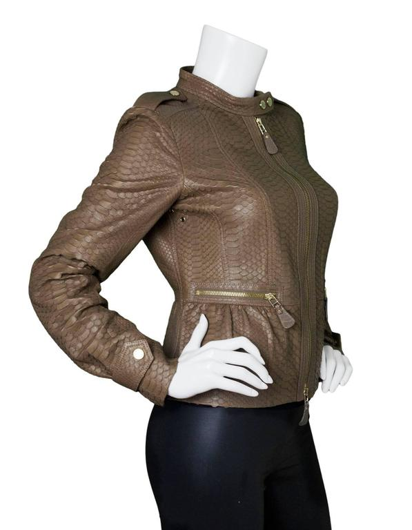 Brown Burberry London Fawn Python Peplum Jacket sz US8 For Sale