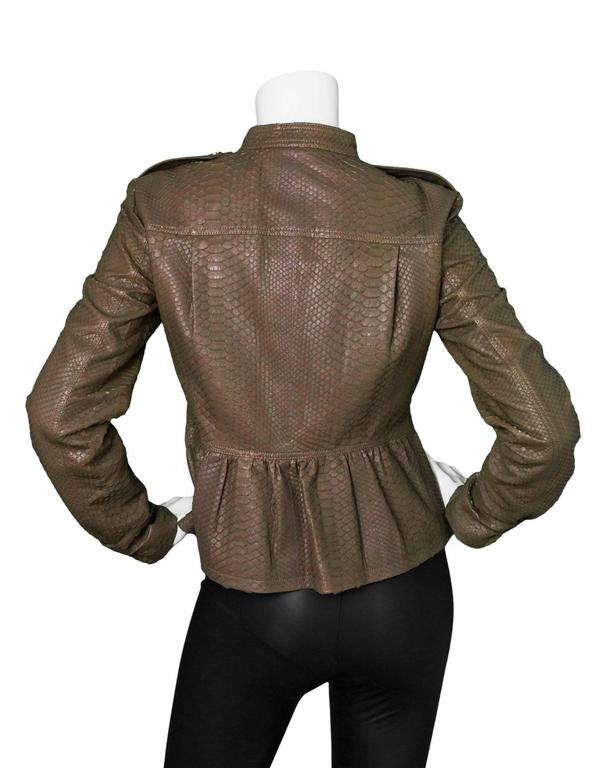 Burberry London Fawn Python Peplum Jacket sz US8 In Excellent Condition For Sale In New York, NY