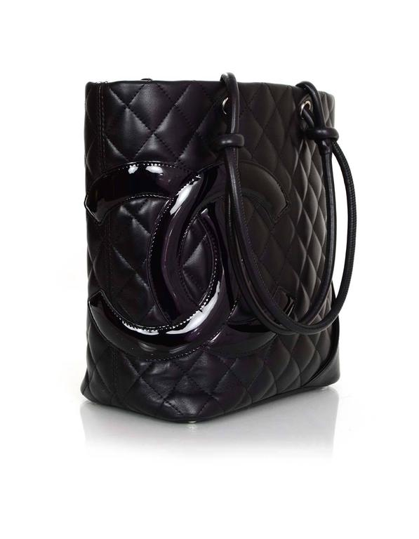 07044aaf6afc 100% Authentic Chanel Black Quilted Medium Cambon Tote. Features over-sized black  patent