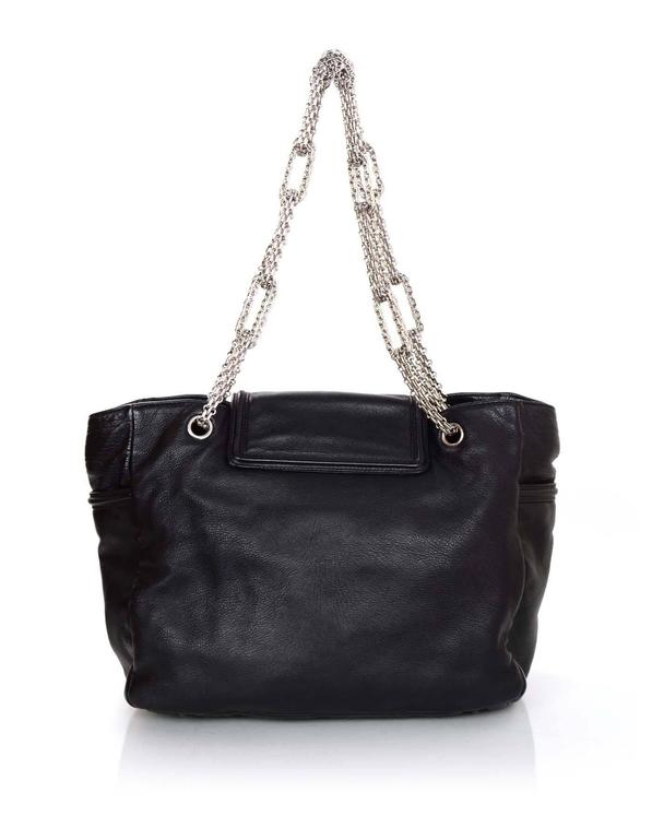 Women's Chanel Black Leather 2.55 Reissue Lock Tote w/ Heavy Chain Straps rt. $3,995 For Sale