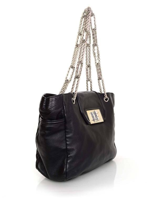 Chanel Black Leather 2.55 Reissue Lock Tote w/ Heavy Chain Straps rt. $3,995 3