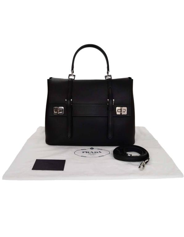 5606b03eaccbd ... switzerland prada black calf leather pattina city satchel bag w  optional strap for sale 6 f4030
