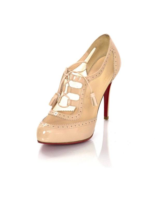 huge discount 2ac1f 9f073 Christian Louboutin Nude Patent Leather/ Mesh Spectator Booties Sz 39