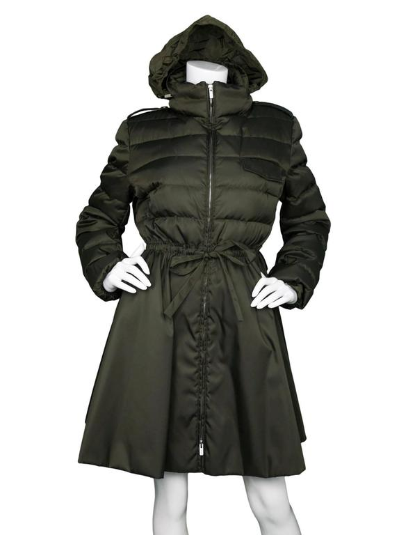 Miu Miu Iridescent Olive Fit Flare Puffer Coat sz IT48 rt. $2,300 2