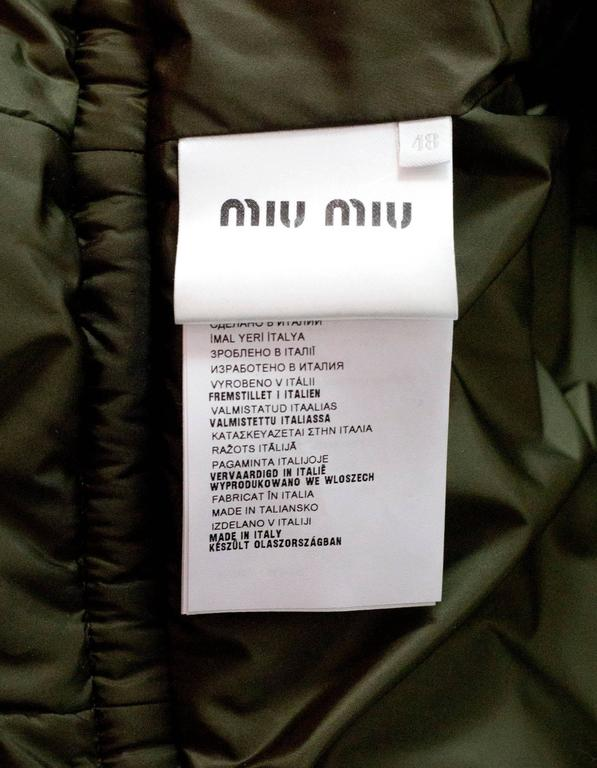 Women's Miu Miu Iridescent Olive Fit Flare Puffer Coat sz IT48 rt. $2,300 For Sale