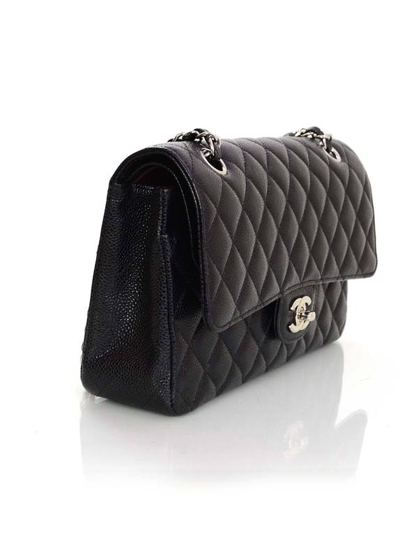 f5bec4129766 ... Medium Double Flap Classic Bag In Excellent Condition For. Chanel Black  Quilted Caviar Leather 10