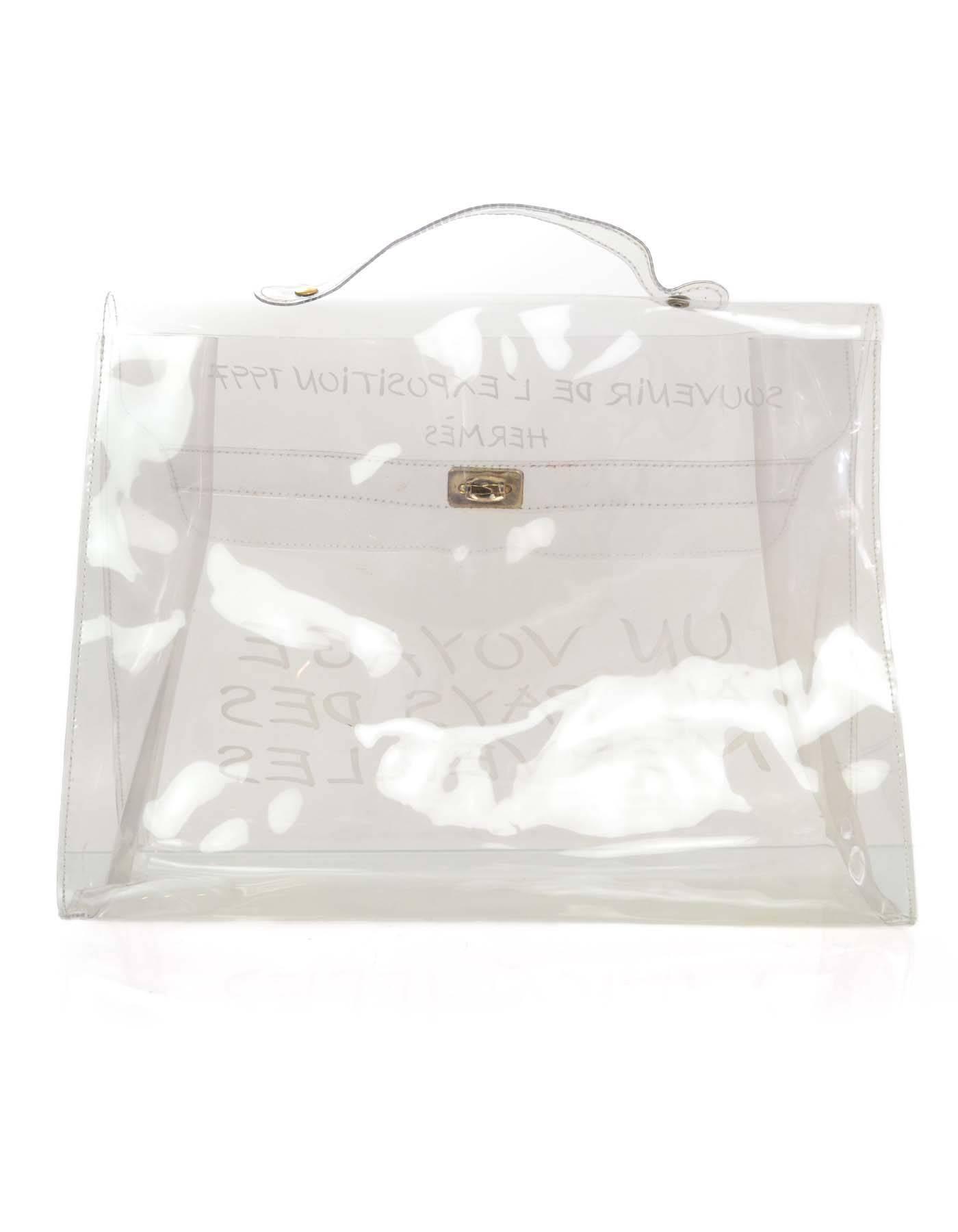 2730e7062b0 Hermes Clear Plastic Un Voyage Kelly Souvenir Tote Bag at 1stdibs