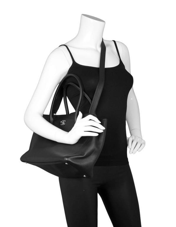 Chanel Black Deerskin Leather Executive Cerf Tote Bag w/ Strap  2