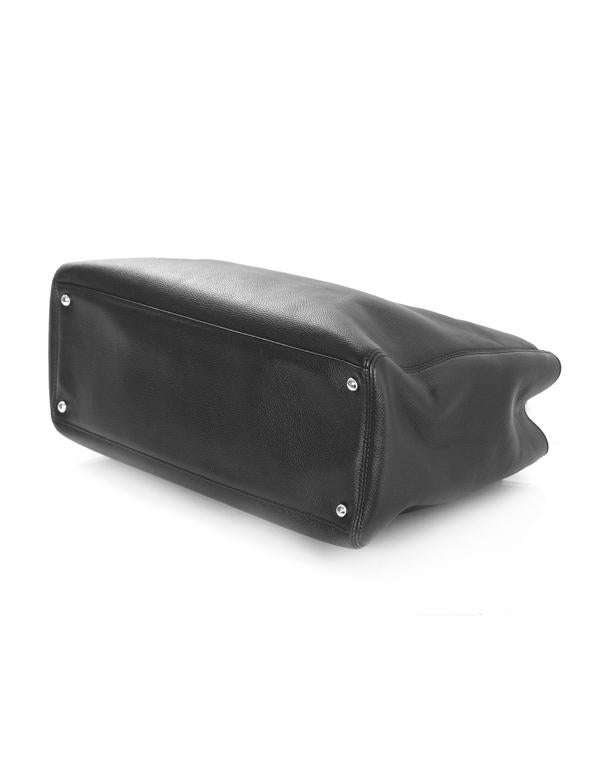 Chanel Black Deerskin Leather Executive Cerf Tote Bag w/ Strap  6