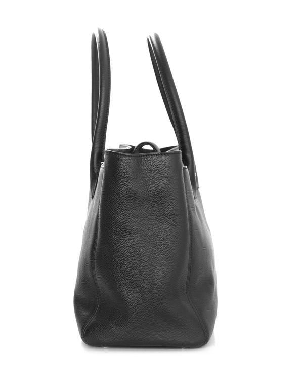Chanel Black Deerskin Leather Executive Cerf Tote Bag w/ Strap  3