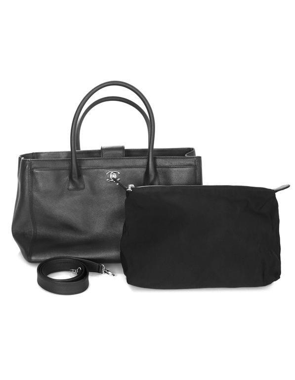 Chanel Black Deerskin Leather Executive Cerf Tote Bag w/ Strap  9