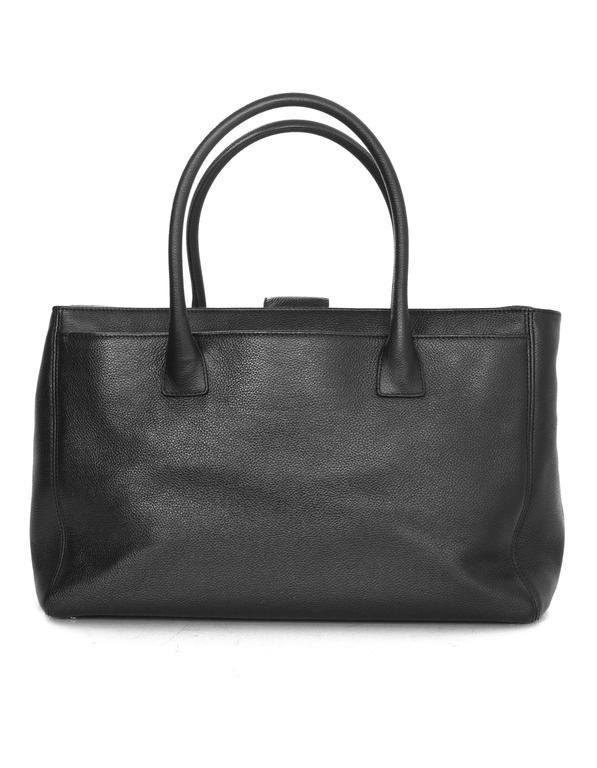 Chanel Black Deerskin Leather Executive Cerf Tote Bag w/ Strap  4