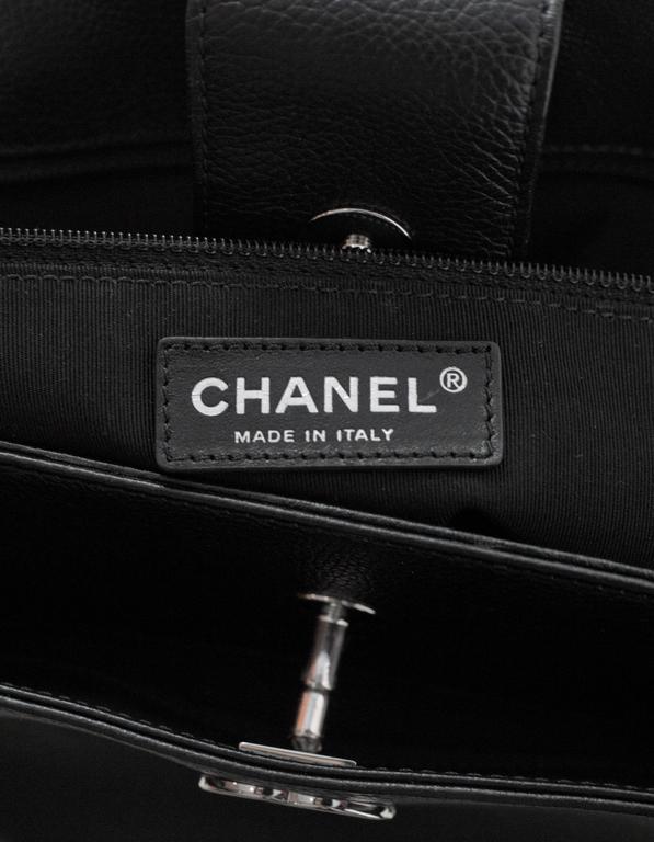Chanel Black Deerskin Leather Executive Cerf Tote Bag w/ Strap  8