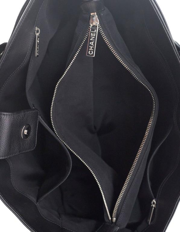 Chanel Black Deerskin Leather Executive Cerf Tote Bag w/ Strap  7