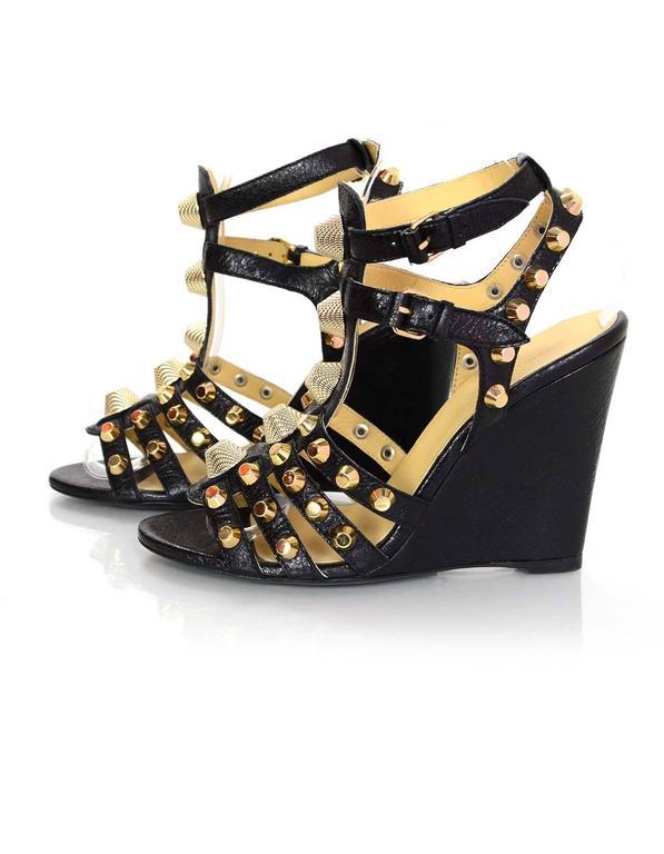 Balenciaga Black And Goldtone Arena Studded Wedge Sandals