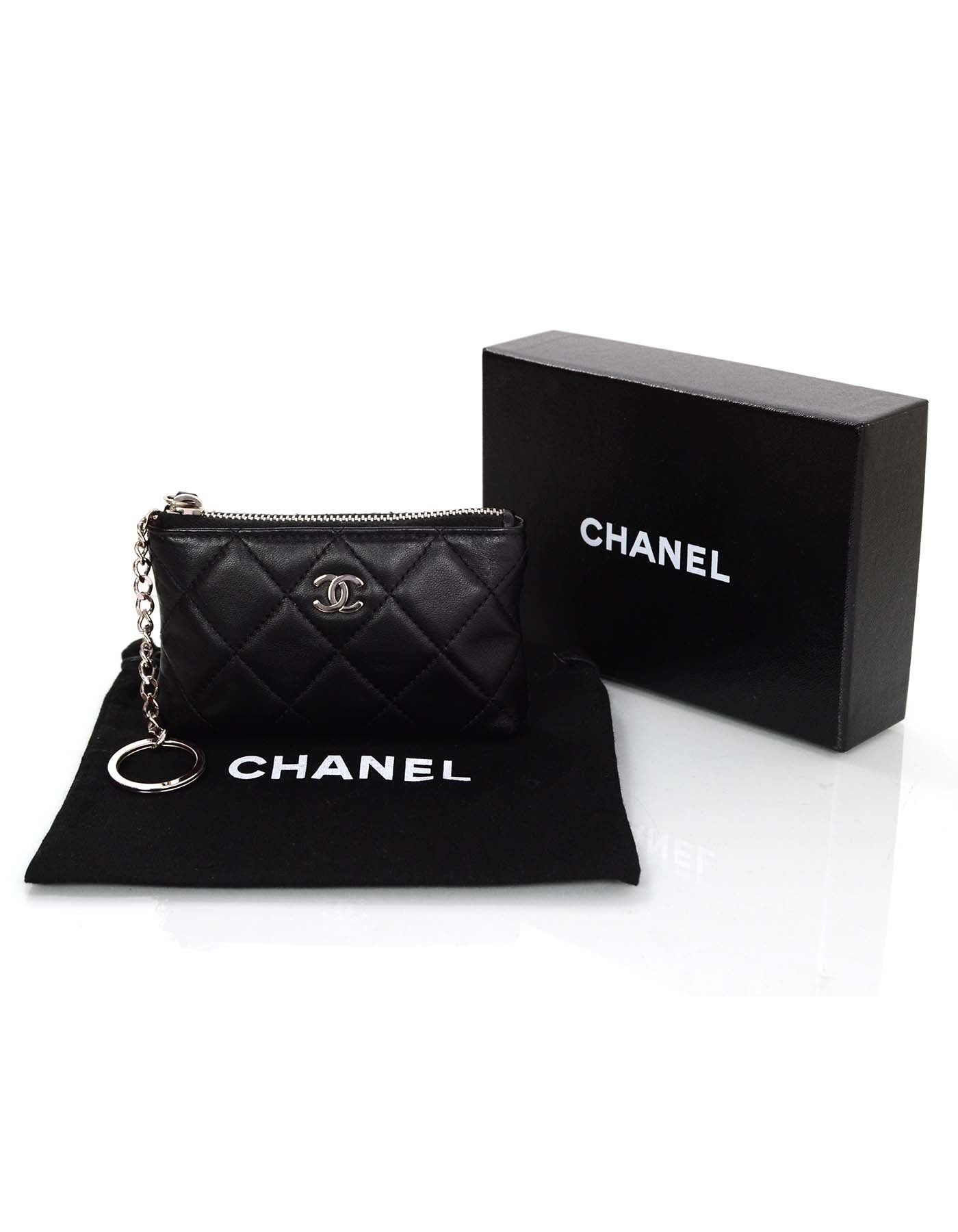 f17889c6a053ff Chanel Black Lambskin Leather Quilted Coin Purse Key Ring For Sale at  1stdibs