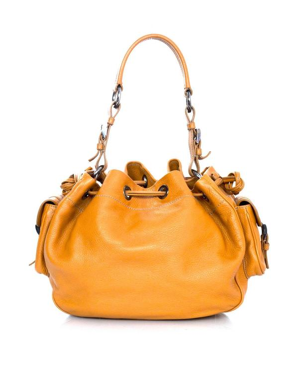 60dde01c144d Prada Orange Leather Drawstring Tote Bag For Sale at 1stdibs