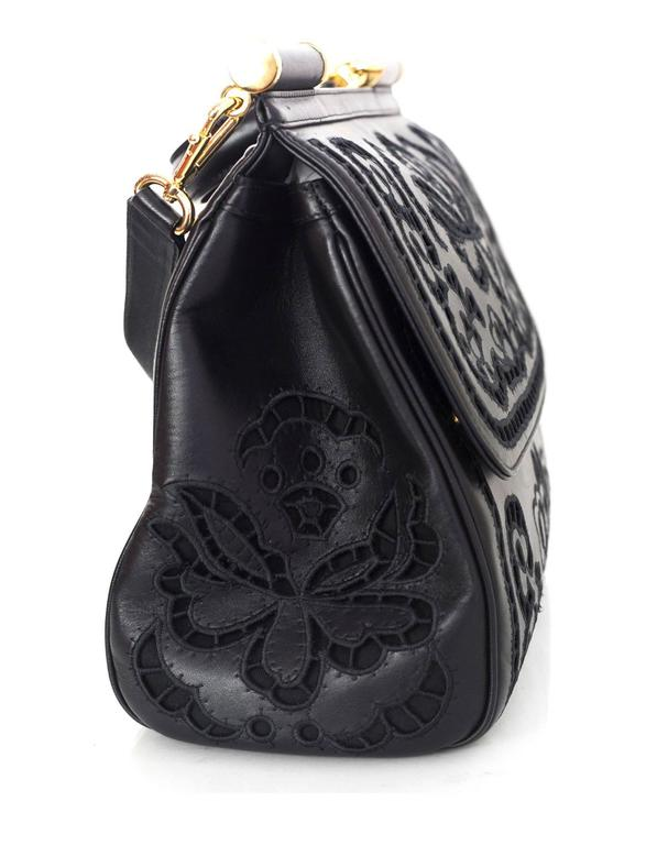Dolce   Gabbana Black Laser Cut Lace Miss Sicily Handle Bag In Excellent  Condition For Sale 28f00f48f2