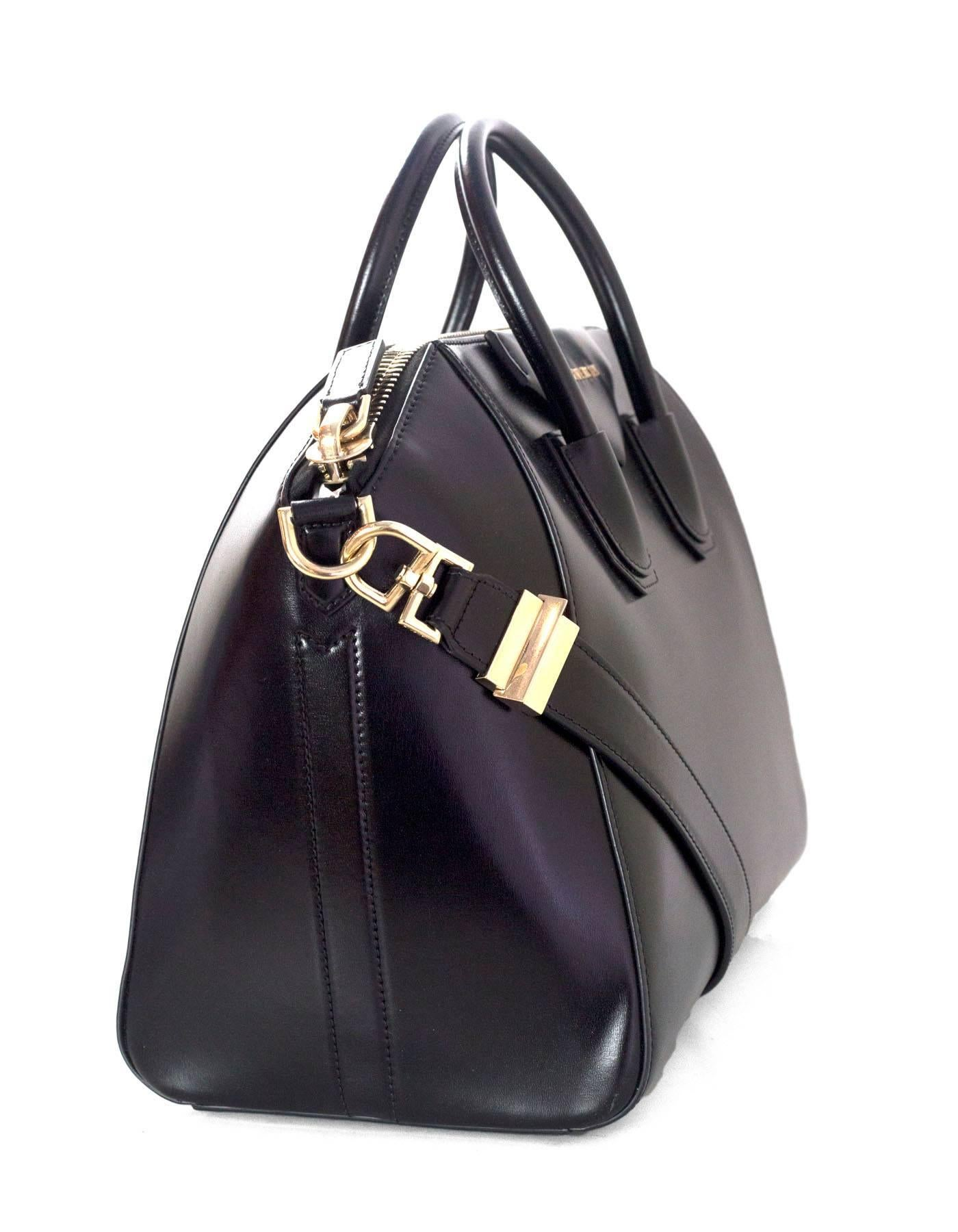 1ed6bb666a Givenchy Black Shiny Lord Calfskin Leather Medium Antigona Tote Bag For  Sale at 1stdibs