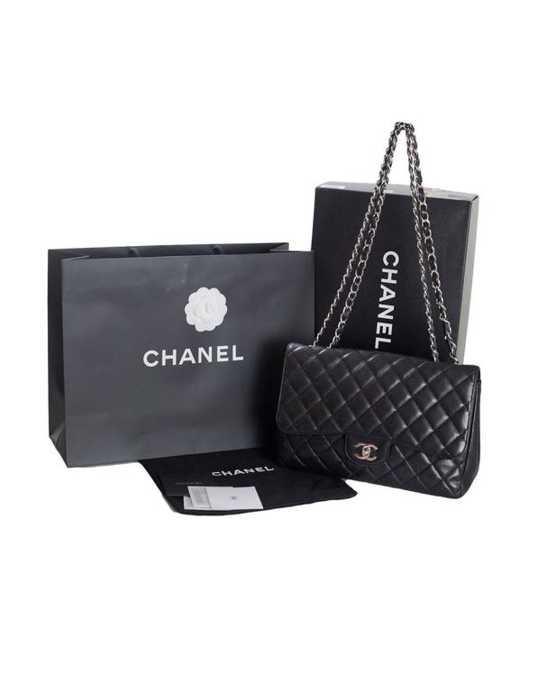 11959f422188 Chanel Black Quilted Caviar Leather Single Flap Jumbo Classic Bag For Sale 6