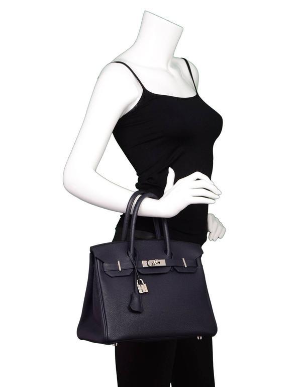 Hermes 2016 Navy Blue Bleu Nuit Togo Leather 30cm Birkin Bag 4