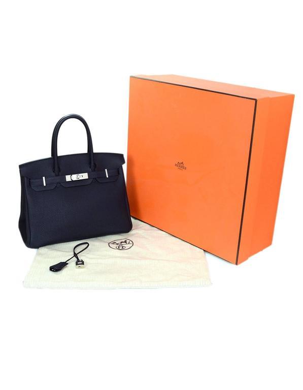 Hermes 2016 Navy Blue Bleu Nuit Togo Leather 30cm Birkin Bag 3