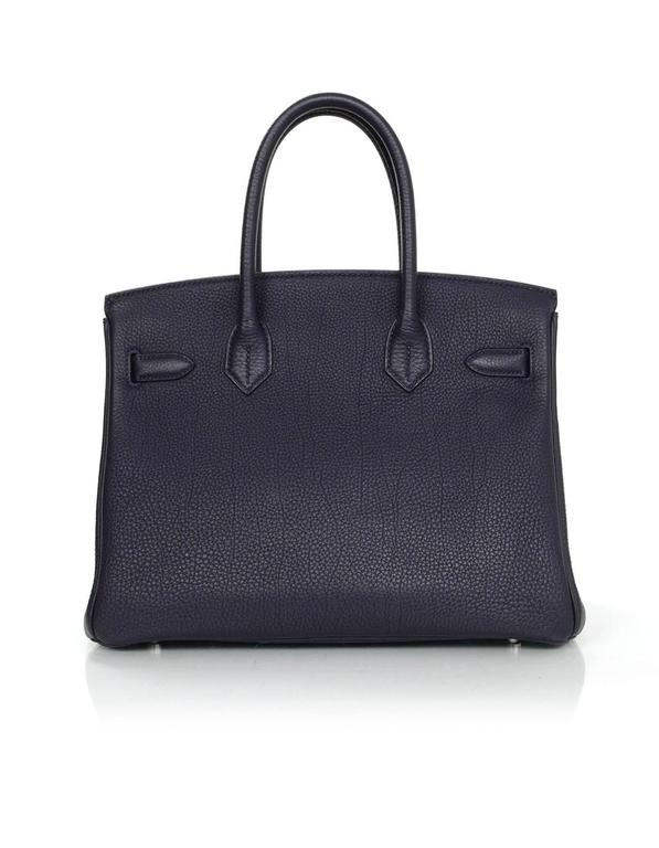 Hermes 2016 Navy Blue Bleu Nuit Togo Leather 30cm Birkin Bag In Excellent Condition In New York, NY