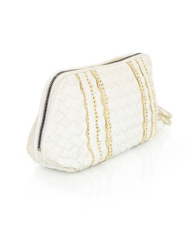 Bottega Veneta White Woven Intrecciato Leather Cosmetic Bag 3