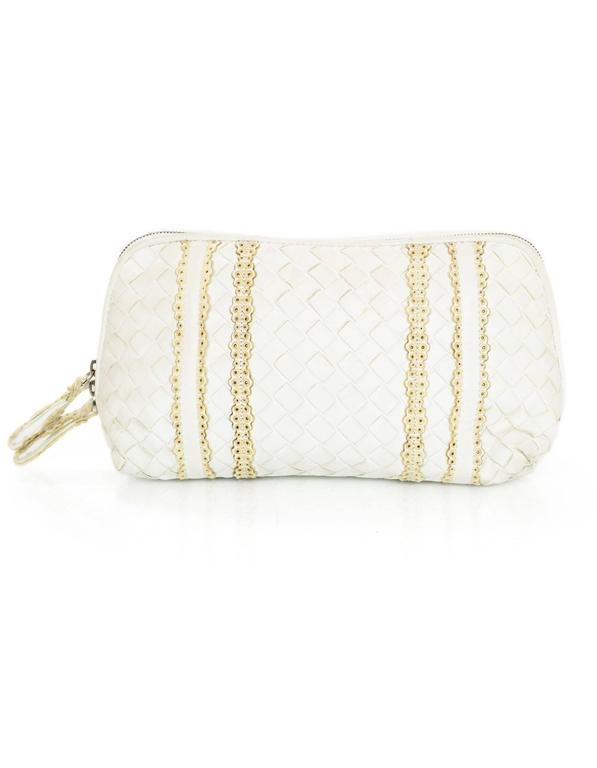 Bottega Veneta White Woven Intrecciato Leather Cosmetic Bag 2