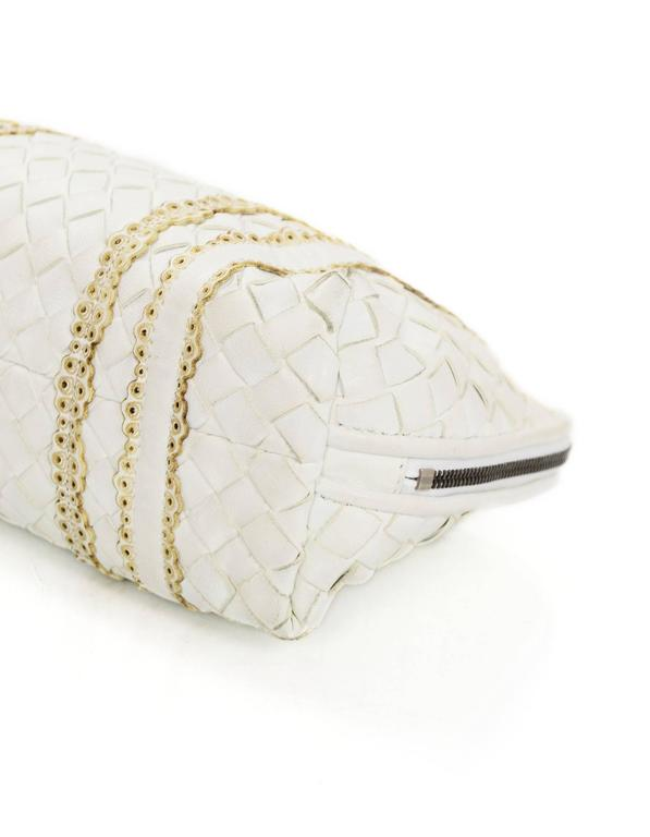 Bottega Veneta White Woven Intrecciato Leather Cosmetic Bag 5
