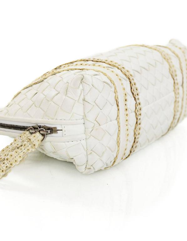 Bottega Veneta White Woven Intrecciato Leather Cosmetic Bag 4