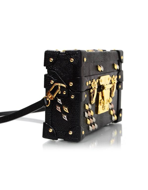 louis vuitton black lizard studded petite malle crossbody bag with box for sale at 1stdibs. Black Bedroom Furniture Sets. Home Design Ideas