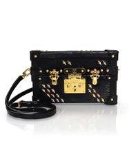 Louis Vuitton Black Lizard Studded Petite Malle Crossbody Bag with Box